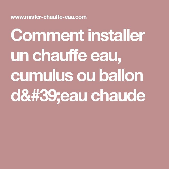 Best 25 ballon d 39 eau chaude ideas on pinterest ballon d eau seau and - Pas d eau chaude cumulus ...