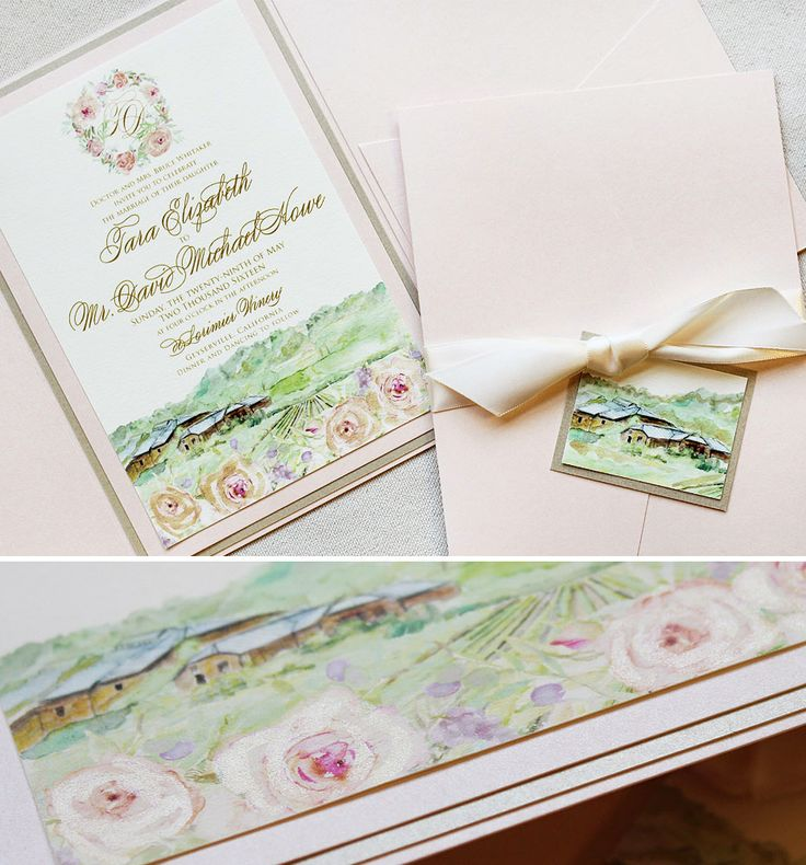 Tara W Watercolor Vineyard Wedding Invitation