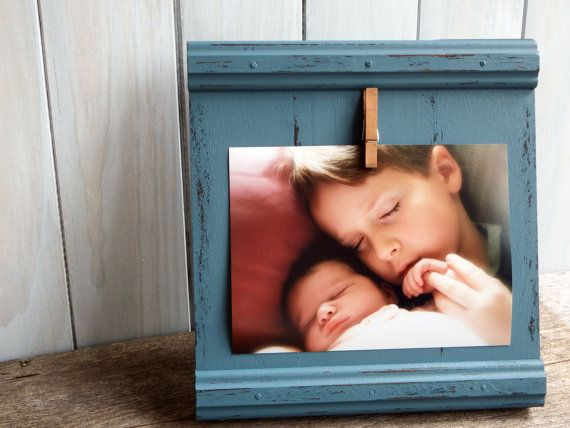 Rustic blue wood picture frame 5x7, children picture frame, nursery decor, blue picture frame, 5x7 photoframe, blue home decor, wall hanging