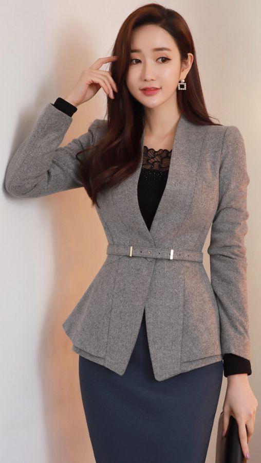 StyleOnme_Collarless Belted Peplum Wool Blend Jacket #grey #jacket #koreanfashion #kstyle #kfashion #elegant #wintertrend
