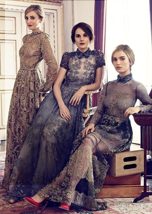 Michelle Dockery, Laura Carmichael, and Lily James for Harper's Bazaar UK August 2014 ..NEW COMMENT:am I crazy or are the heads on much smaller/different bodies? Photoshop? This pic looks very odd.