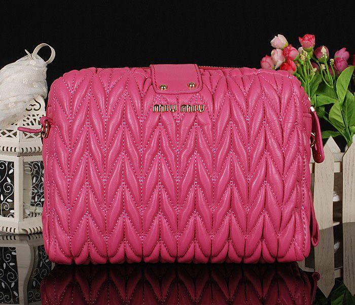 Miu Miu Newest Matelasse Cherry Pink Clutch Bag 2 #bags
