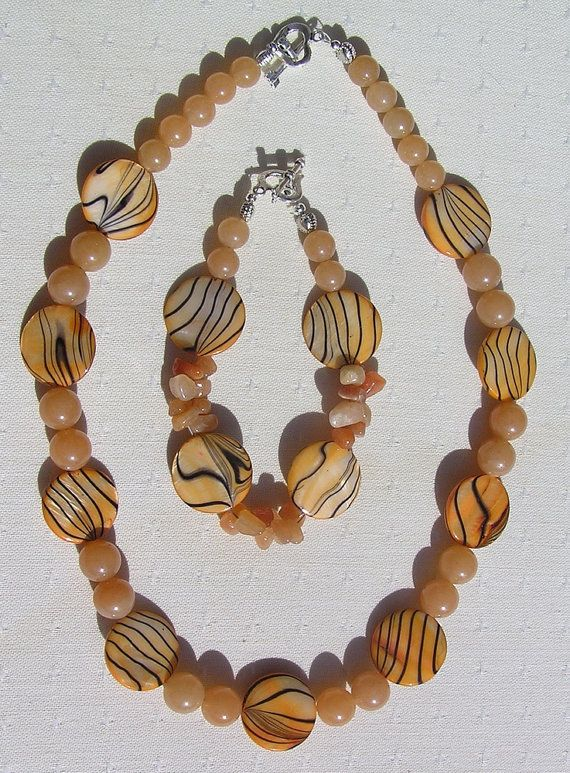 Necklace & Bracelet Set  Mother of Pearl and Red by SunnyCrystals, £20.50