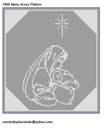 1066 Mary and Jesus filet crochet doily mat afghan pattern