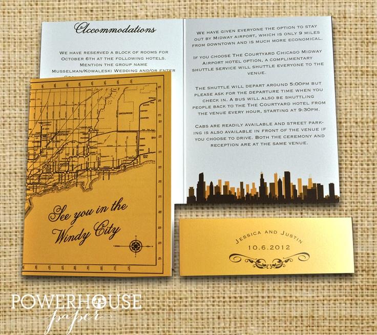 how to return address wedding envelopes%0A Chicago    Map Wedding InvitationPocketfold