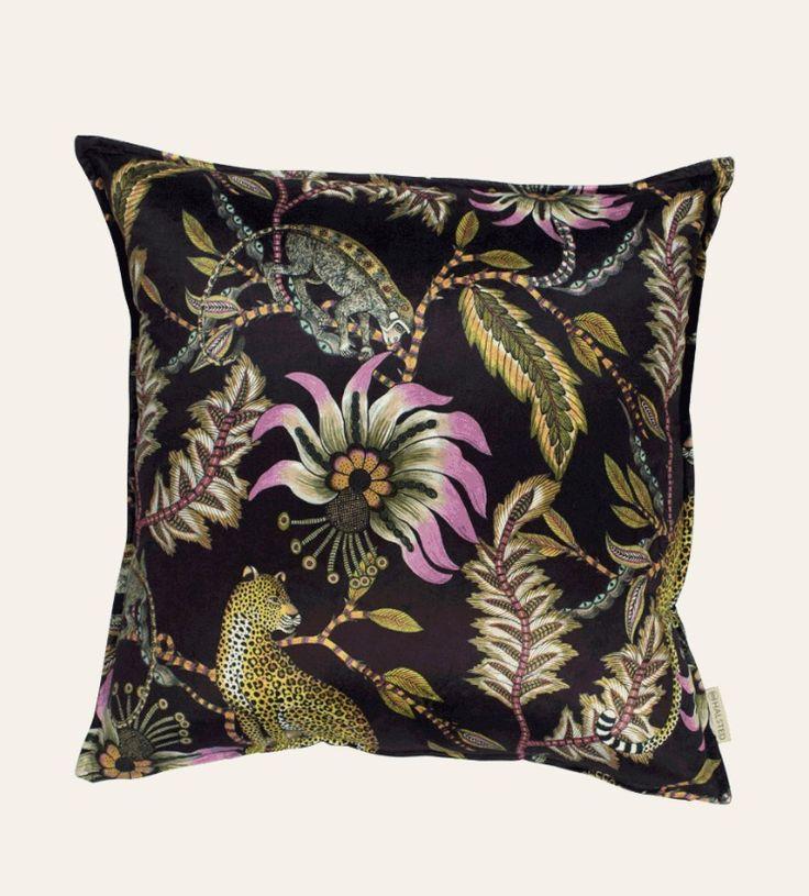 Monkey Bean Night Cushion 60x60cm cushion in Monkey Bean Night Velvet. Double-sided print on velvet.