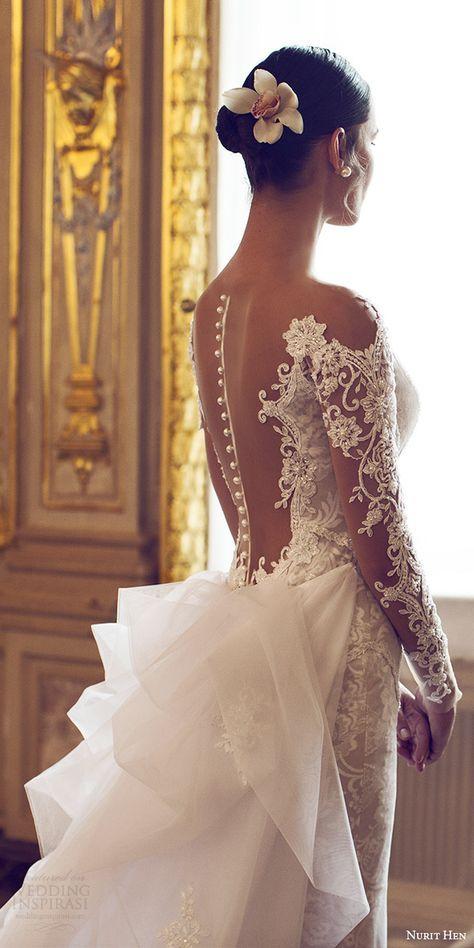 nurit hen 2016 bridal illusion long sleeves off shoulder sweetheart sheath #weddingdress