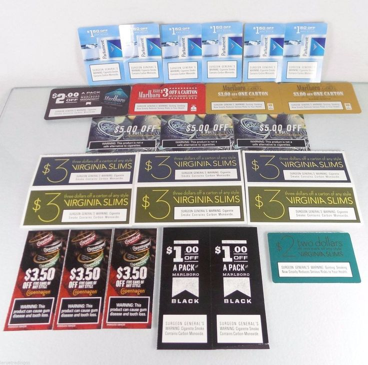 #Marlboro #Parliament #Copenhagen #Skoal & Virginia Slims 25 #cigarette pack carton #tobacco #snuff manufacturer's manufacturers manufacturer #coupon #voucher lot/set with $65+ #discounts and savings, brand new and unused in original full color paper card form with clearly scannable UPC bar-codes and January-February 2016 expiration/use by dates, new and unused…