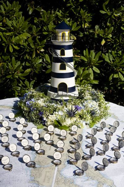 Nautical Wedding, Bar & Bat Mitzvah & Party Theme Ideas - Lighthouse Escort Table with Compass Place Cards by Nancy Swiezy Events - mazelmoments.com