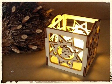 Vánoční svícínek s LED svíčkou překližka laser ozdoby vánoce dř