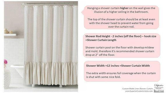 Linen Shower Curtain With Double Ruffle White Gray Blue Etsy