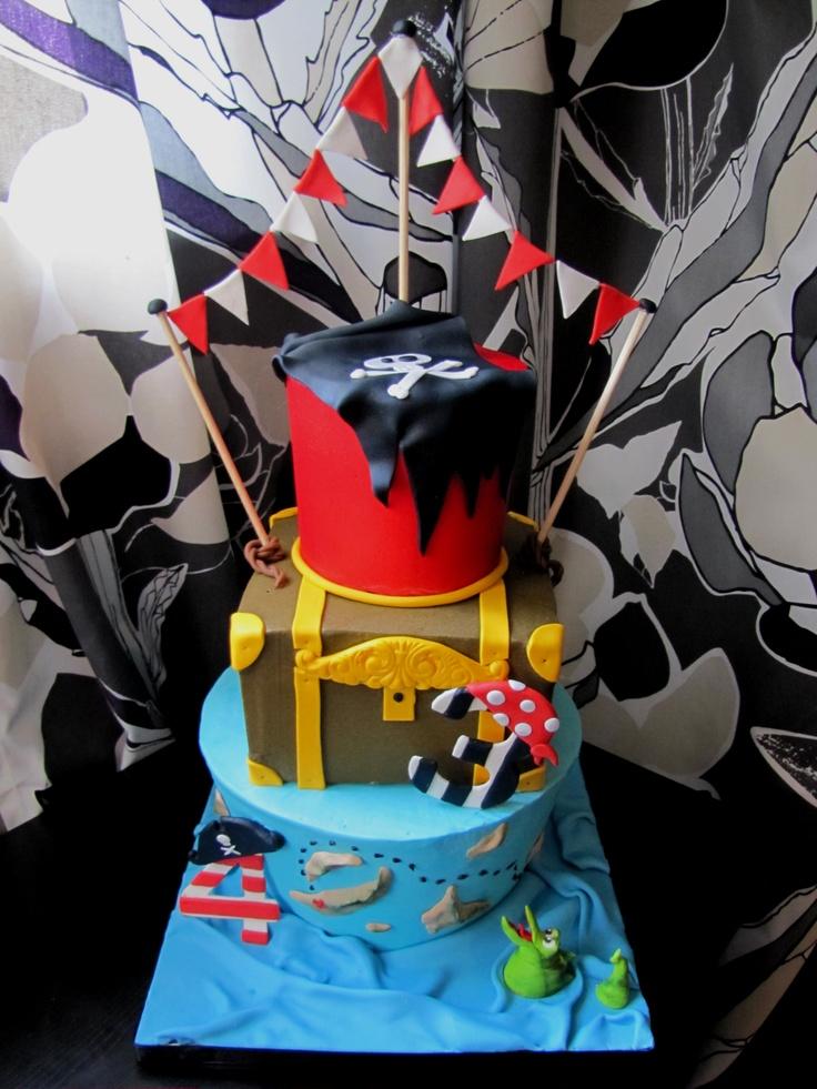 3 tiered Pirate Birthday Cake!