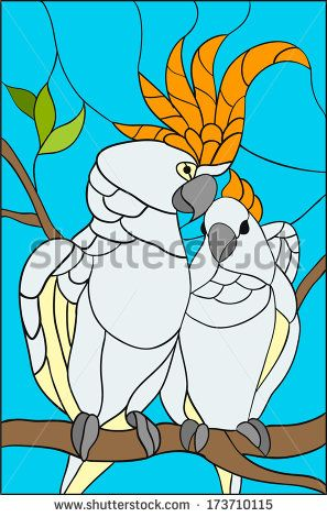 Parrots and love / stained glass window