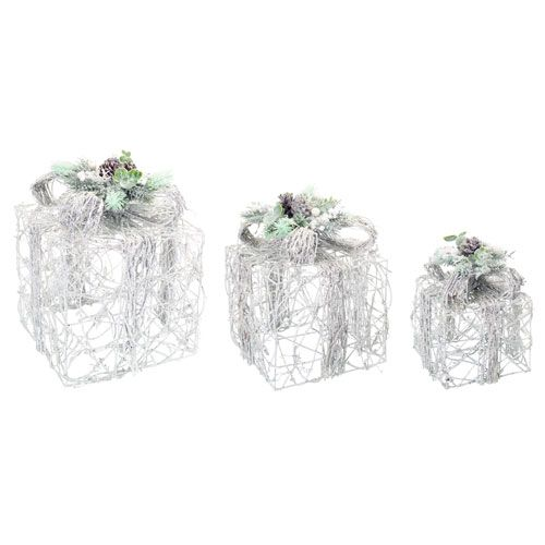 Melrose International 60900 White and Silver LED Snowy Gift Boxes, Set of Three