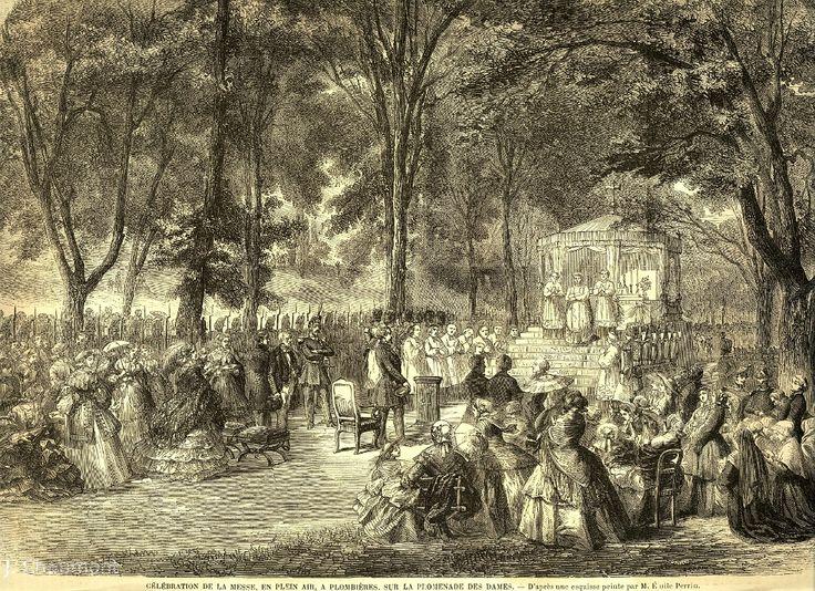 Célébration de la Messe, en plein air, à Plombières, sur la Promenade des Dames en 1858, en présence de l'Empereur Napoléon III.JPG