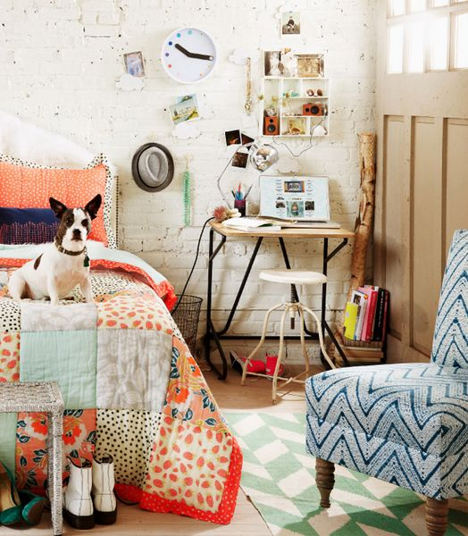 Painted brick walls patterned quilt with cute puppy love urban outfitters home lookbook Urban outfitters bedroom lookbook