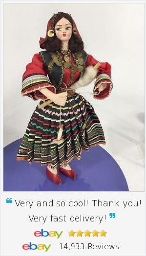 "Vtg International Doll Greece Cyprus Crete Woman Spinning Yarn. 12"", not the inexpensive typical tourist style, she is of the HIGHEST Quality with handpainted mask face and fine fabrics."