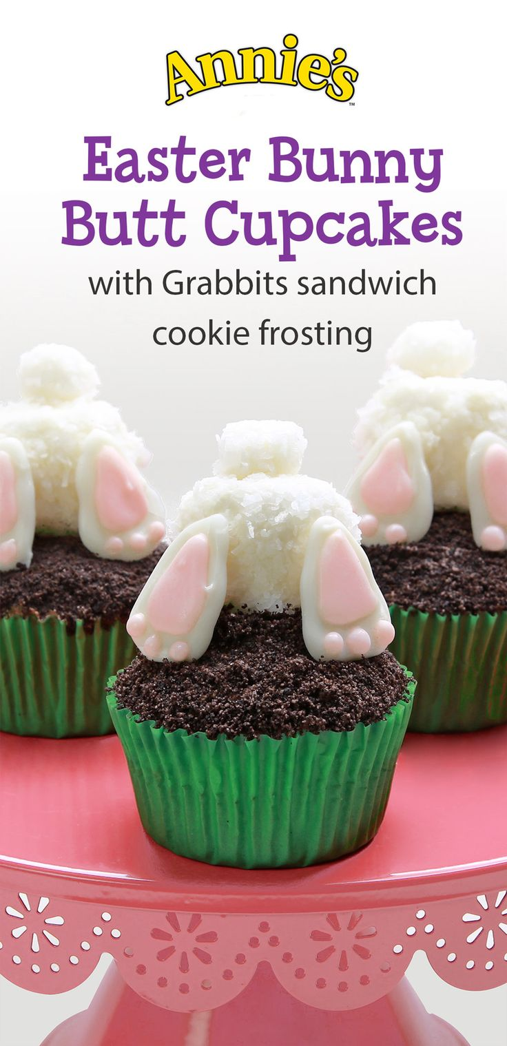 """There's no butts about it, these Bunny """"Butt"""" Easter Cupcakes take the cake when it comes to the cutest, most Instagram-worthy dessert out there! Topped with fun marshmallow bunny butts and a frosting made of Annie's Organic Grabbits sandwich cookies, these cupcakes are packed with chocolatey cuteness that everybunny in the family will love."""