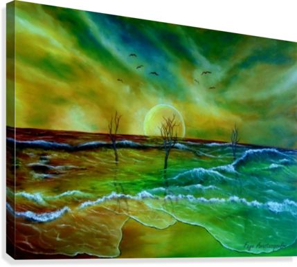 Art for office, coastal, waves, seascape, fantasy, scene, sunset, sky, landscape, trees, nature, theme, colorful, unique, impressive, painting, art, oil painting, artwork, fine art, canvas print