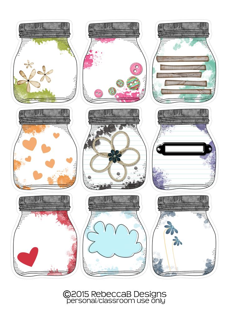 FREE Mason Jar Printable.  Planner Stickers, Planner Printable, Smash books, scrapbooks, card making. etc.  Print on sticker paper or card stock.  (This has been made available again) by RebeccaB Designs