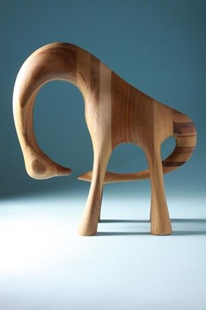 Sculpture, anonymous. Signed KM, Denmark. 1960's. Hand-carved wood.