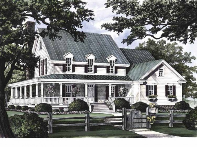 for One story greek revival house plans