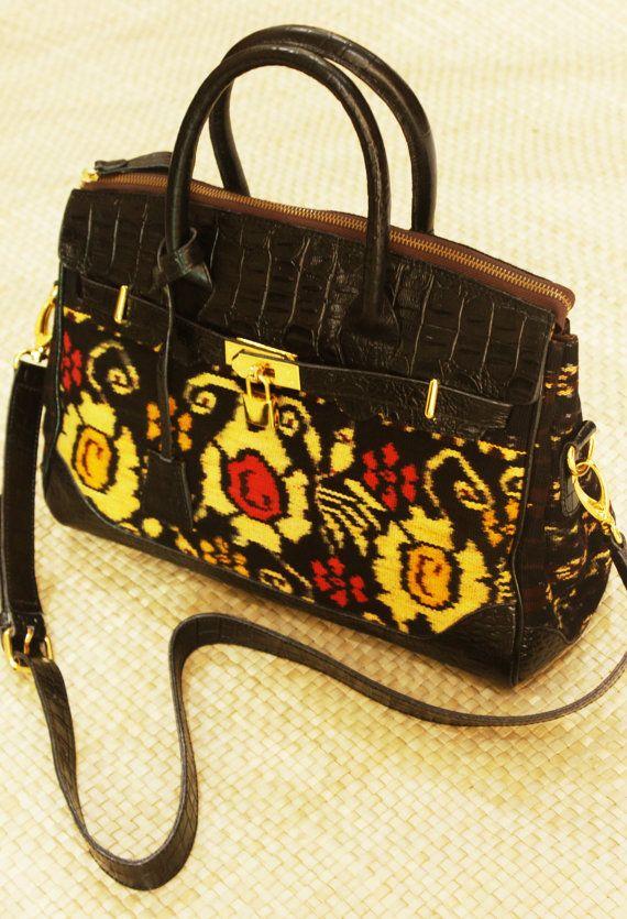This handbag will make statement where ever you go! Ethnic Indonesia Tenun Shabu Rose Nusa Tenggara Timur Embossed Croc Purse Shoulder bag Handbag USD 145.00  by ButikBatikCantik on Etsy