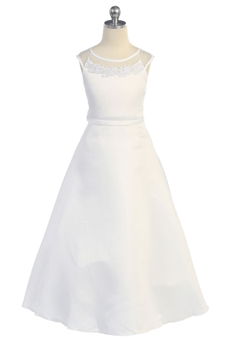 White Satin A-Line Embroidered Communion Girl Dress T5548-WH $49.95 on www.GirlsDressLine.Com