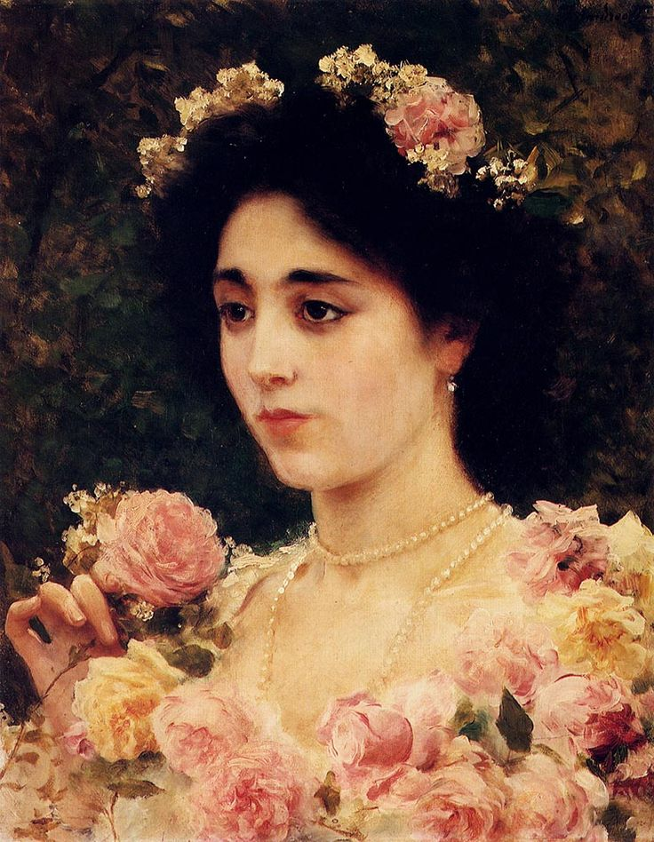 ⊰ Posing with Posies ⊱ paintings of women and flowers - Federico Andreotti (1847-1930)  The Pink Rose