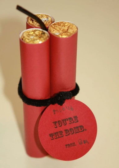 This valentine is the bomb! Dynomite rolls of Rollos. This is so cute.