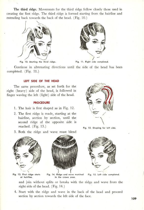 The OG of hair how-tos — a 1938 cosmetology textbook.