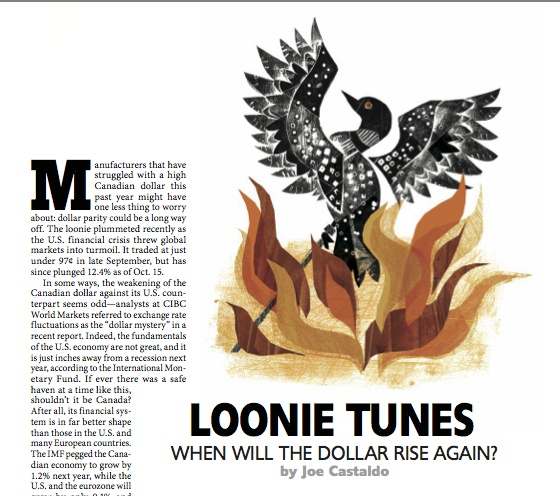 """Silver winner in Spot #Illustration. """"#Loonie Tunes"""" by Lorraine Tuson published in #Canadian Business, 2008."""
