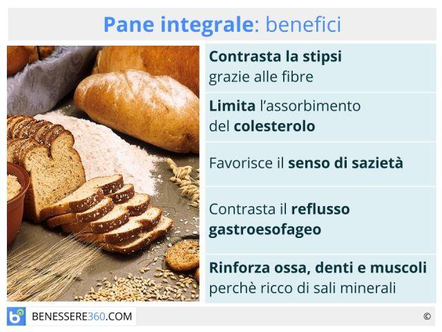 Pane integrale: calorie, valori nutrizionali, benefici e controindicazioni e ricetta