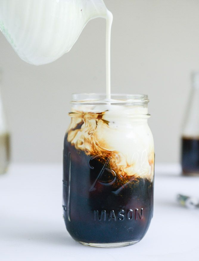 cold brew coffee with homemade vanilla bean, blackberry, almond and cinnamon-brown sugar syrups