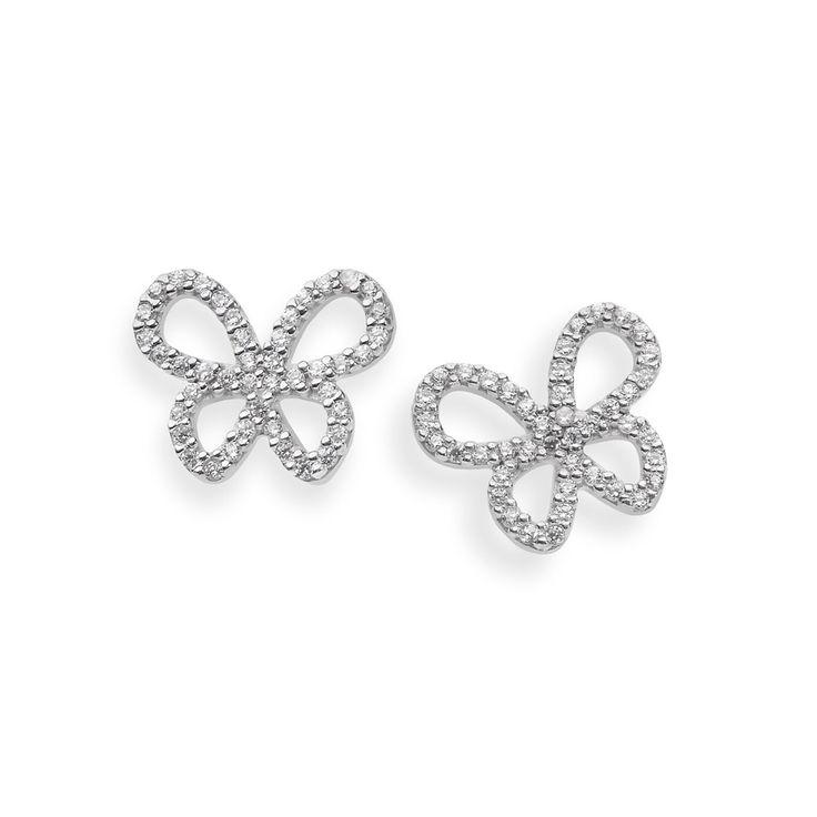 Gli orecchini della Collezione Farfalle per la #SposaMinimal possono essere indossati come pendenti, con la perla, oppure solamente con il delicato «punto luce farfalla».