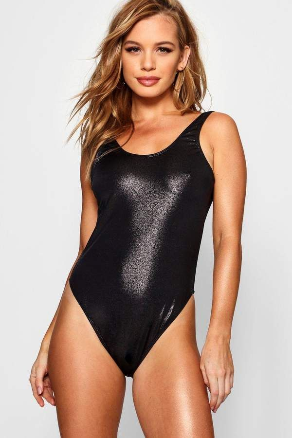 93ca0abb5311d Petite Naomi Wet Look High Leg Scoop Swimsuit in shiny black ...