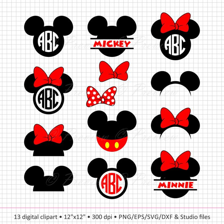 Buy 2 Get 1 Free! Digital Clipart Mickey Mouse Head Monogram, circle frames, heads, ears, red, black images png/eps/svg/dxf/studio cut files by PeppyPapers on Etsy