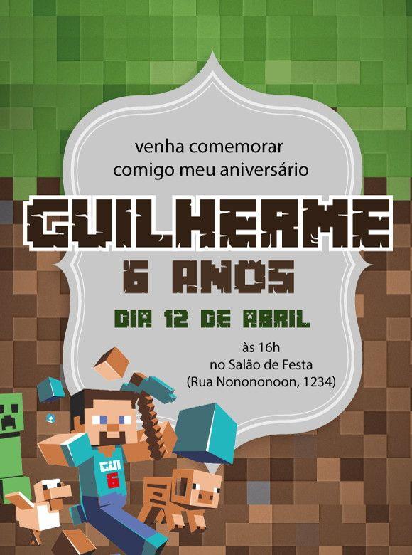Convite virtual com o tema Minecraft  para aniversário.    Envio arquivo em resolução de tela, por email para ser enviado em redes sociais e whatsapp. arquivo em .jpg