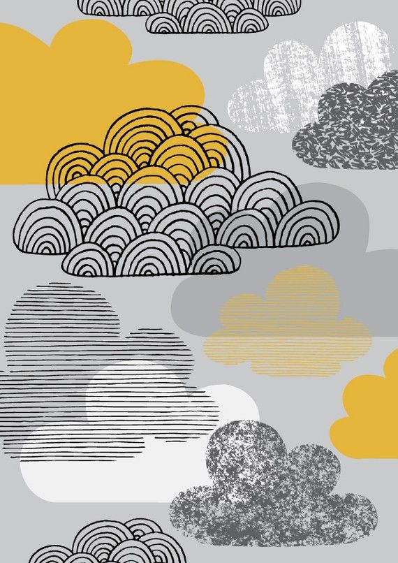 I Love Clouds, limited edition giclee print, yellow and grey
