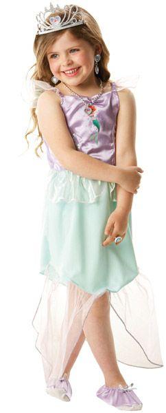 Disfraz Ariel™ niña: Este disfraz de Ariel™ tiene licencia oficial Disney™. Incluye un vestido, un par de pantuflos, una tiara y un conjunto de falsas joyas. La parte de arriba del vestido es de color violeta...
