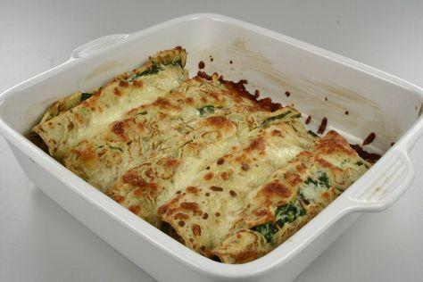 Pandekager med spinat og laks