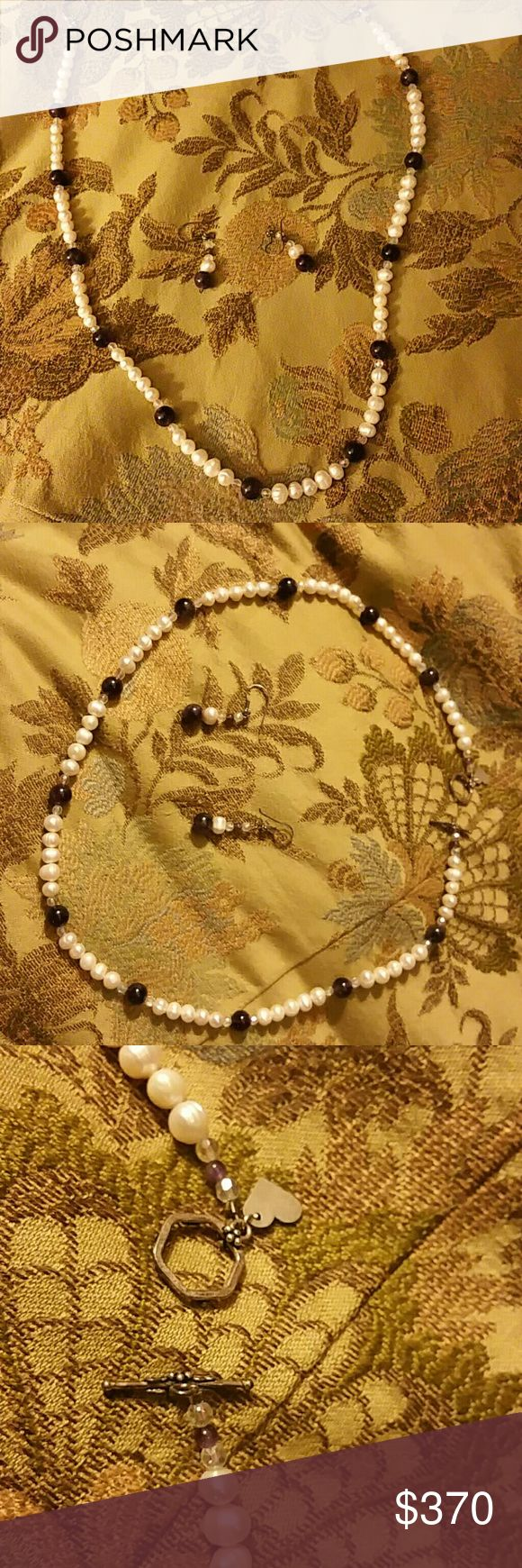 Cultured pearl, purple stone, crystals necklace Cultured pearls, purple stones, crystals necklace and earring... never worn!!! Jewelry Necklaces