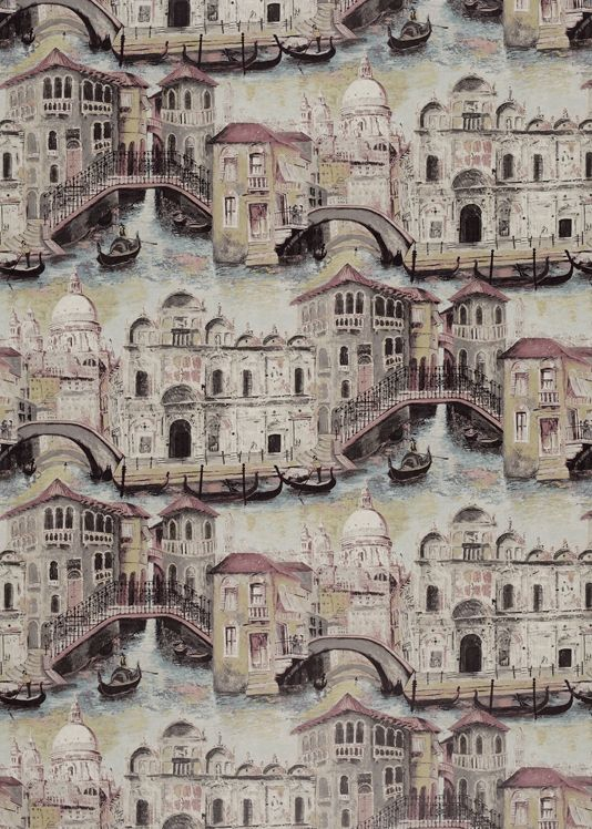 The Gondolier Wallpaper Venetian Renaissance buildings, bridges and canals have been painted in a loose, mural style in light morning hues of duck egg and lemon yellow. The wallpaper is printed digitally on extra wide non-woven paper, which is stronger and more flexible than standard paper qualities, and provides a full width panoramic view.