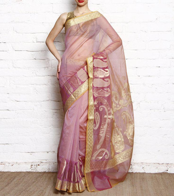 Light Purple Cotton Silk Banarasi Saree