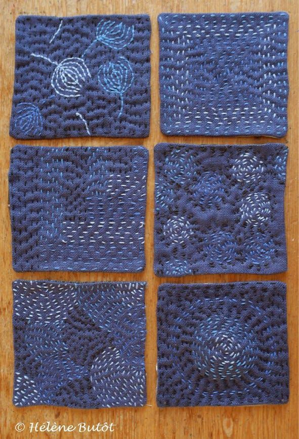 "Helene Butot""s sampler squares of long stitch."