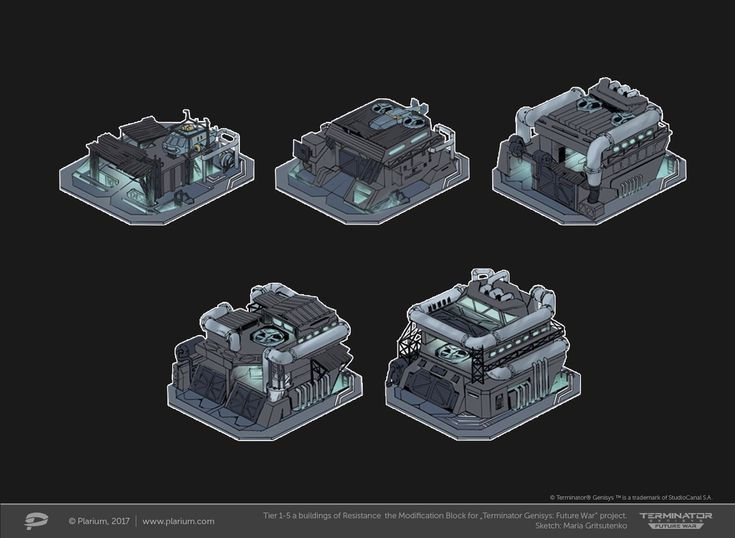 "ArtStation - Tiers 1-5 a buildings the Modification Block for ""Terminator Genesis: Future War"" project, Maria Gritsutenko"