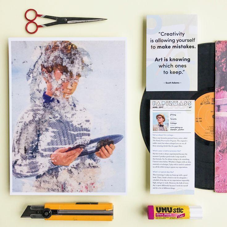 Papirmass Issue 87 featuring the collage work of Jp King  #papirmass #artsubscription #artwork #creativelife #happylife #artinthemail #art #artprint #subscriptionbox