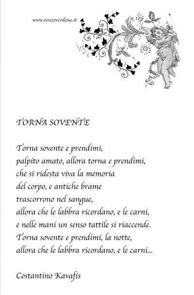 """Poesia  """"Torna sovente"""" di Costantino Kavafis"""