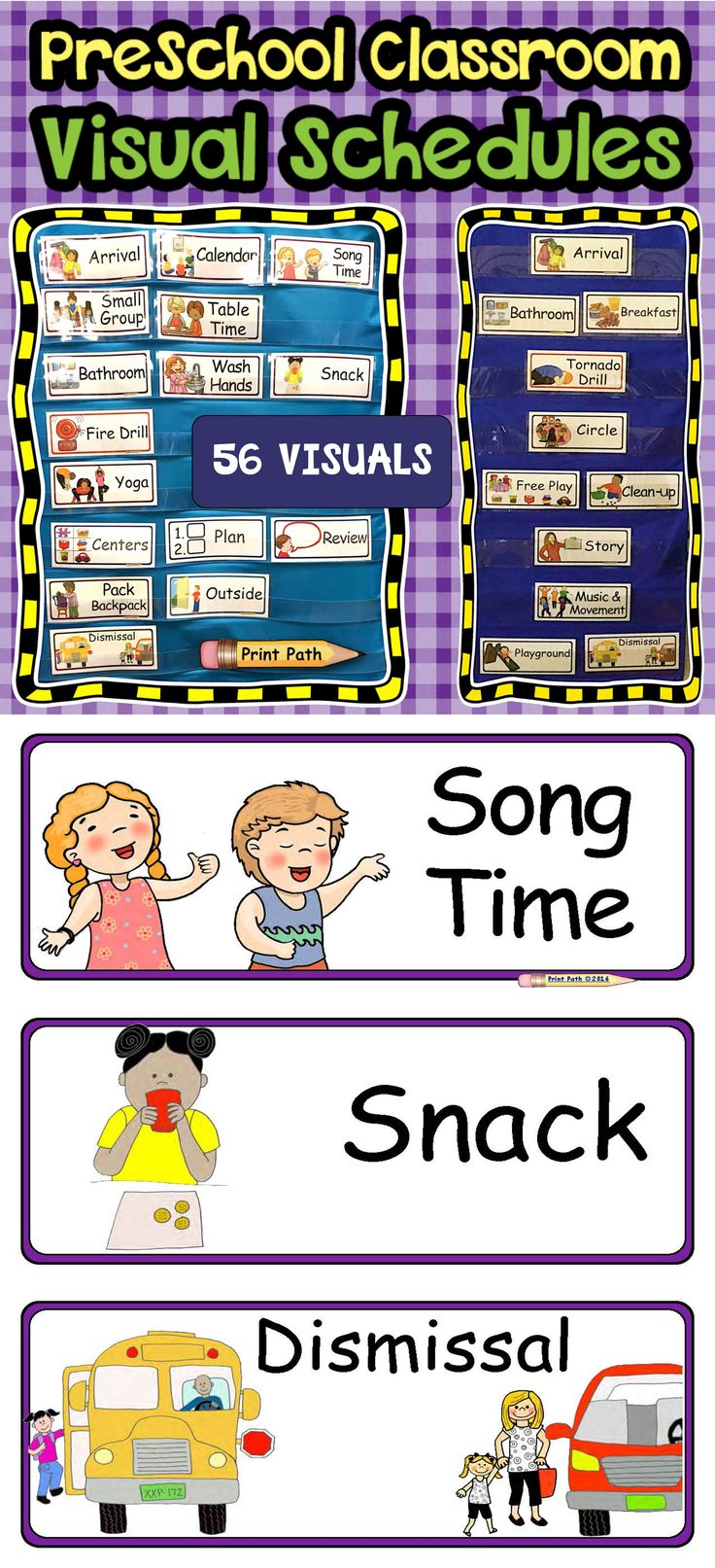 Choose from 55 preschool schedule visuals to support positive behaviors and stress-free transitions! Engaging and easy to understand pictures help your students make positive behavioral choices. Four sets include: in the classroom, out of the classroom, emergency, and play stations. These four sets are color-coded to help you keep your infrequently used visuals organized and accessible. Each set comes with blank pages so that you can add your own visuals. Editable!