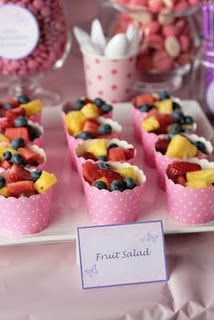 fruit salad in muffin cups. Healthy is the word
